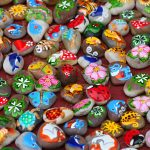 Color images on the stones, symbols, characters and animals